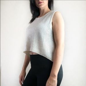 Bishop + young cream and silver crop top small